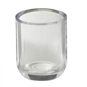 Een kaarshouder met een ovaal/rond gevormd glas.