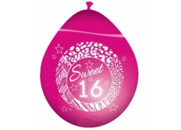 Ballon sweet 16 roze - 590x422